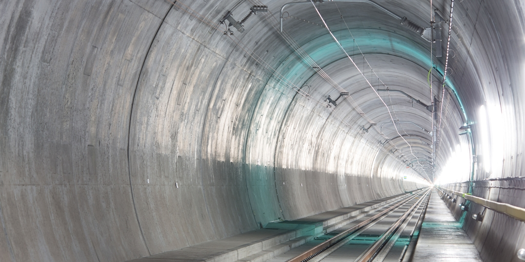 Inside the Gotthard Base Tunnel in Switzerland.
