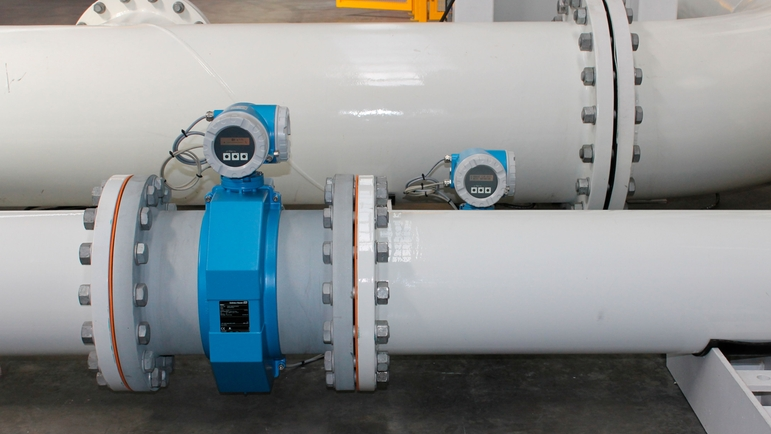 Two of the three Promag flowmeters installed on the test bed.