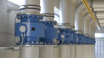 Magmeters in wastewater treatment pump station